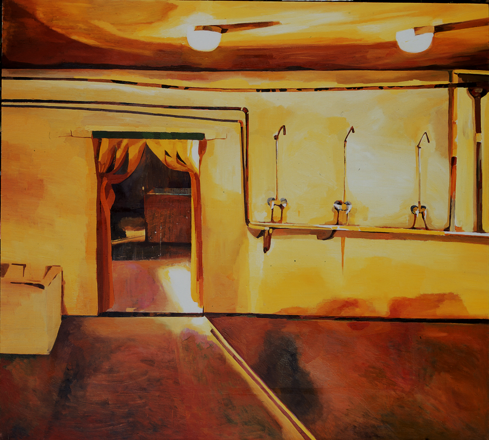 "Xiao Jiang ""Public bathroom"", Oil on Canvas, 200 x180cm 2012,"