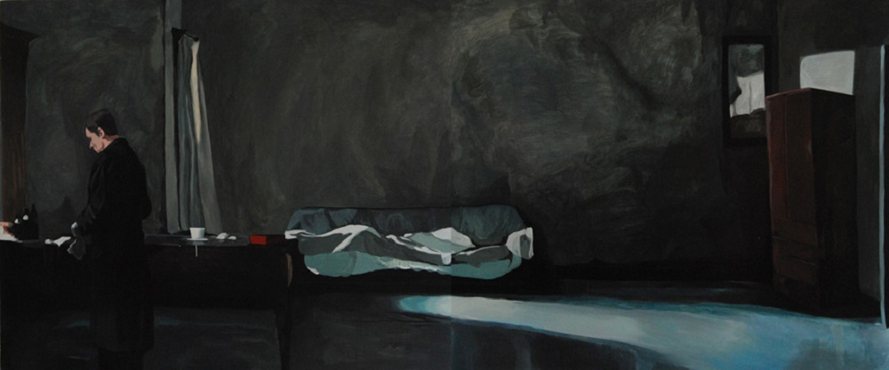 "Xiao Jiang ""What's in the room"", Acrylic on canvas, 150x360cm, 2009"