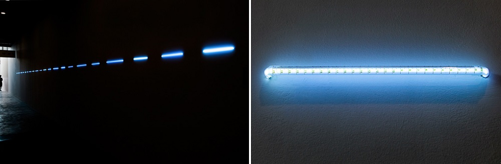 "Yi Xin Tong ""Rushing Across the Field as a Dotted Line"", Fluorescent Lamps, Dimension Variable, 2015"
