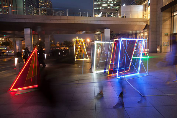 """Bi Rongrong, Public Art Project """"7:3 Colors"""" Transparent colored Plexiglas, stainless steel, LED Dimension Variable, 2013"""