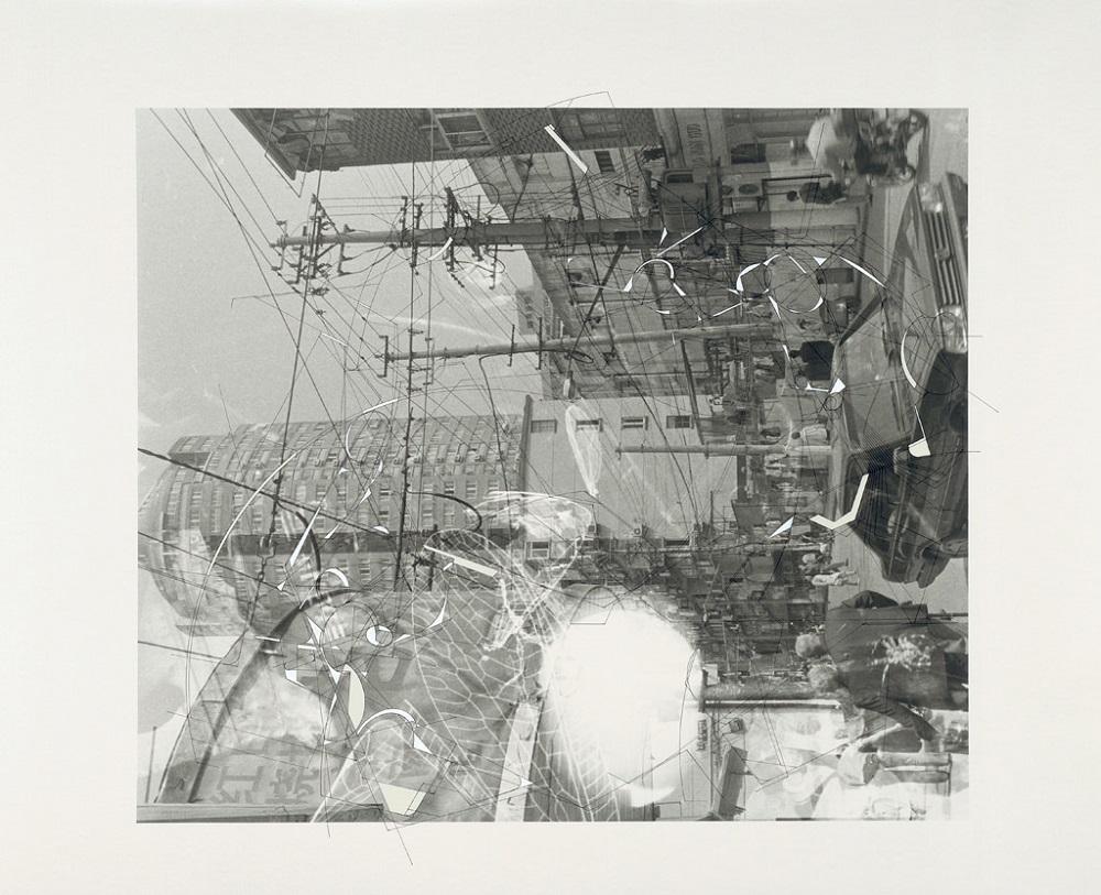 "Aki Lumi ""Traceryscape SH521"", painting on gelatin-silver print, 50 x 60 cm, 2006"