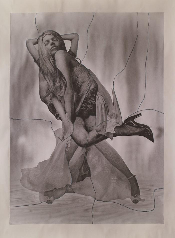"Yuki Onodera ""Muybridge's Twist No.3"", charcoal, crayon, photography collage on canvas, 277x211cm , 2015"