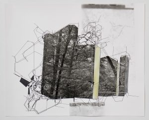 Aki Lumi, Architectural Nature No.5, Acrylic Painting on Gelatin-silver Print, 50.6 x 59.5cm, 2016