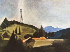 有信号塔的风景 油画60cmx80cm 2016